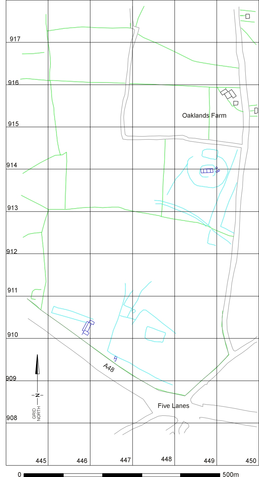 figure 25: the whole complex of buildings and enclosures at five lanes  (image: glamorgan-gwent archaeological trust)